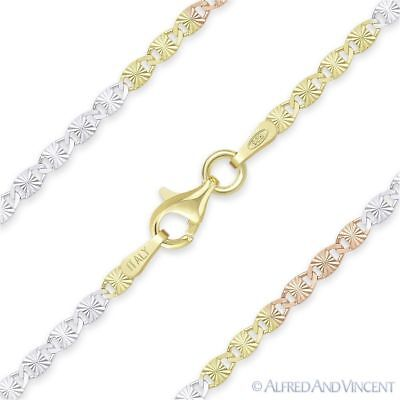 2.4mm Valentino Link Chain Necklace 925 Italy Sterling Silver w// 14k Yellow Gold