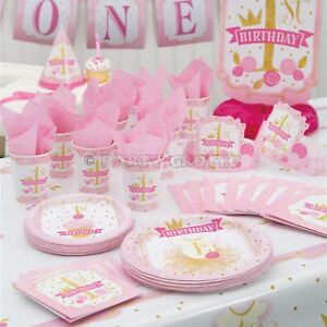 1st-First-Birthday-Girls-Pink-amp-Gold-Party-Supplies-Tableware-amp-Decorations