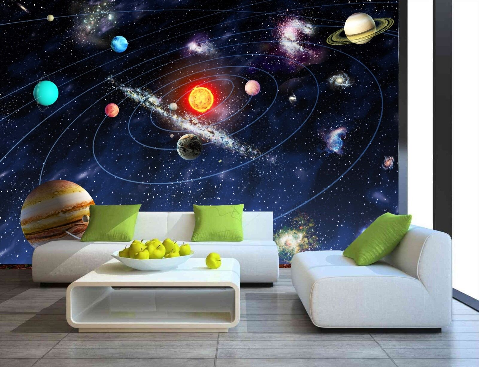 Details About Sun Space Stars Planets Solar System Wallpaper Mural Photo Children Room Poster