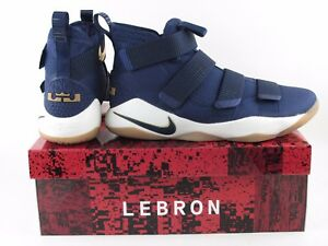 275a4e9b9b38 Nike LeBron Soldier XI 11 Midnight Navy Blue Gold Metallic 897644 ...