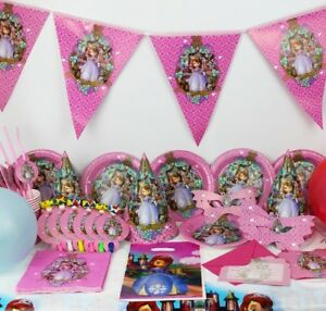 SOFIA-THE-FIRST-PRINCESS-Party-RANGE-Set-Plates-Cups-Napkin-FORK-Birthday