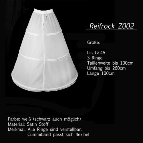 Reifrock Petticoat Unterrock Gr.32-58 in weiß 2-3 Ringe Brautkleider 20LF