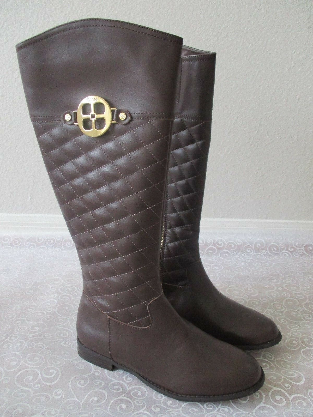 IMAN CHOCOLATE BROWN QUILTED LEATHER KNEE HIGH BOOTS SIZE 9 M - NEW