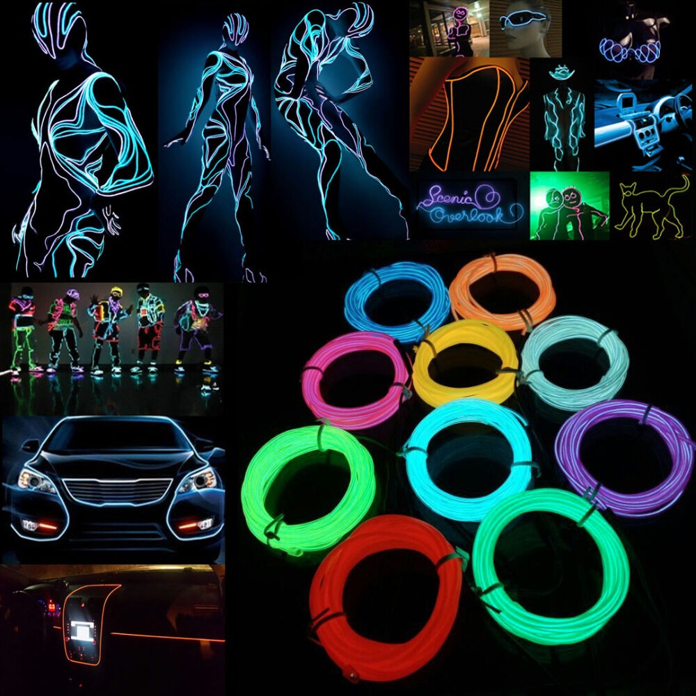 1-5M Battery Neon LED Glow EL Strip Tube Wire Rope Car Party Lights Controller