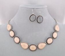 Silver Tear and Ovals With Pink Acrylic Stone Necklace Set Fashion Jewelry NEW