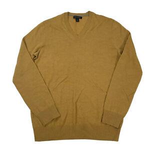 Banana Republic Men's Large Tall V-neck Extra Fine Merino Wool Sweater Yellow