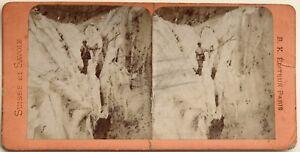 Chamonix-Grevasses-Mer-de-Glace-Photographie-Stereo-Vintage-Albumine