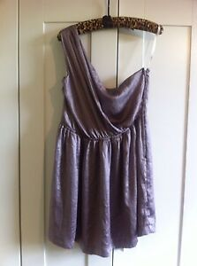 Mink-Pink-Silver-One-Shoulder-Dress-BNWOT-Size-14