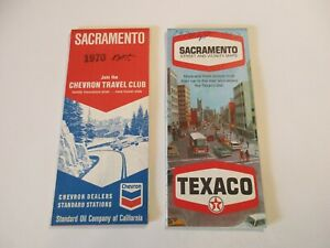Lot of 2 Chevron & Texaco Sacramento California Gas Station Road Maps~Box L7