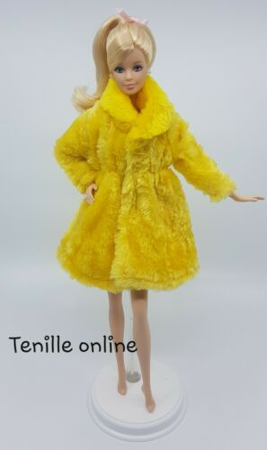 New Barbie clothes outfit jacket fur coat sweater jumper yellow curvy