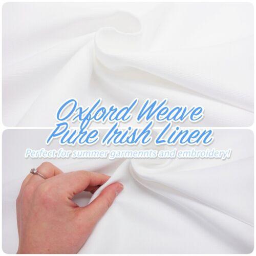 Oxford Weave Pure Irish Linen White Heavy Summer Dressmaking// Decor Craft Fabric