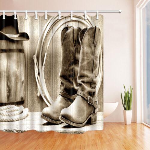America Western Cowboy Boots Rustic Wooden Board Bathroom Fabric Shower Curtain