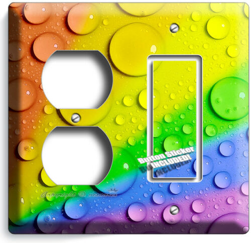 RAINBOW WATER DROPLETS DROPS TEXTURE LIGHT SWITCH WALL OUTLET PLATES ROOM DECOR