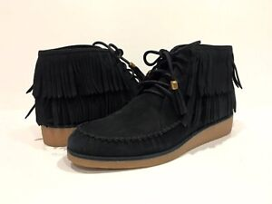 621d69fa09cf UGG CALEB FRINGE ANKLE BOOTS BLACK SUEDE MINI WEDGE -US SIZE 9.5 ...