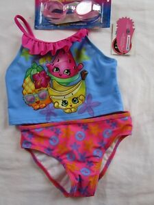 62502151648ca NWT Girl 5 6 Pink Blue Fruit SHOPKINS two piece tankini swimsuit ...