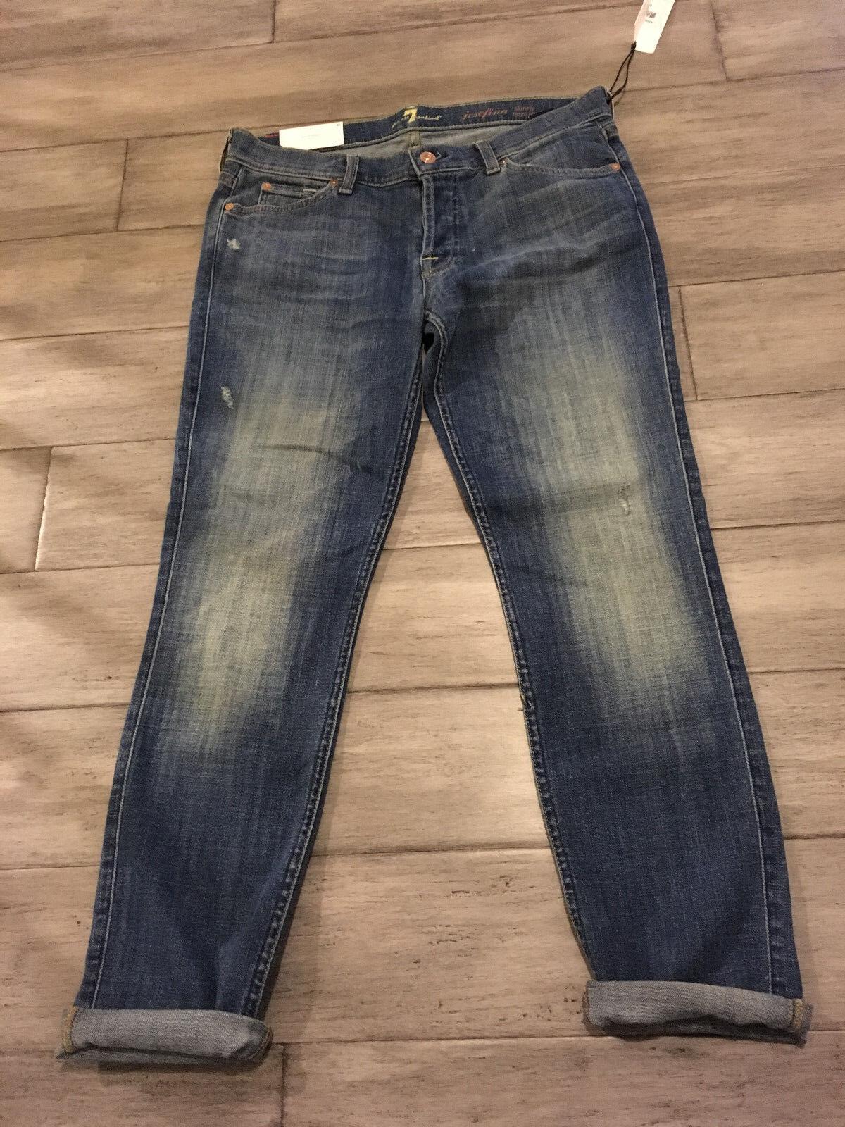 7 For All Mankind Josefina Skinny Boyfriend Medium Wash Denim Jeans Size 30 NWT