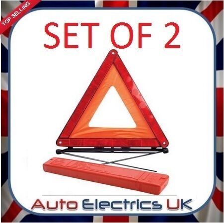 2 X Warning Triangle Emergency Breakdown Foldable Reflective Road Hazard EU Car