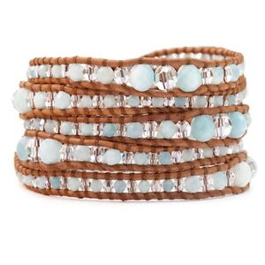 215-NWT-Chan-Luu-Amazonite-Mix-Graduated-Wrap-Bracelet-on-Natural-Brown-Leather