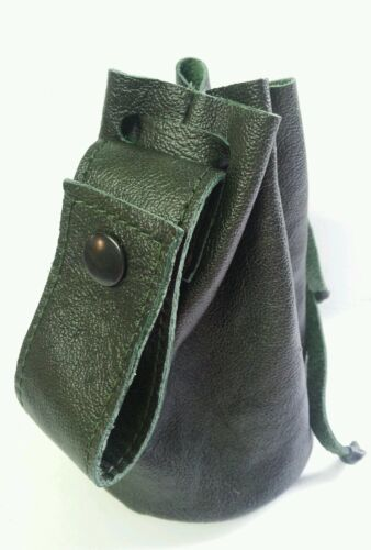 Vera Pelle verde Disegnare Stringa Pellet Marsupio. Borsetta. BAG. Bushcraft/passante della cintura/STUD
