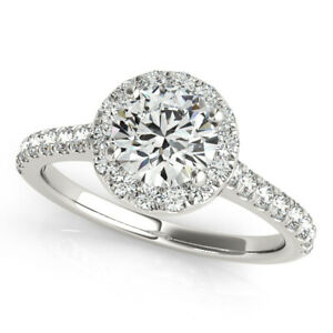 1.15 Ct Round Cut Real Moissanite Anniversary Ring 14K Solid White Gold Size 9.5