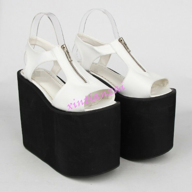 New Womens Open toe Platform Wedge 16cm heel Slingback Hollow out Lolita Sandals