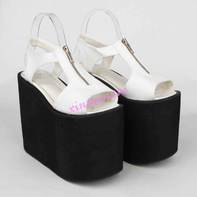 New donna Open toe Platform Wedge 16cm heel Slingback Hollow out Lolita Sandals