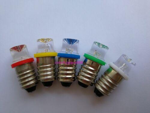 E10 12V Red Yellow Blue Green White Inverted Screw In Led Bulb for DIY LIONEL 9V