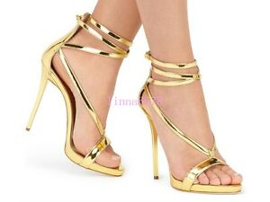Womens-Super-High-Heel-Stilettos-Gold-Silver-Strappy-Party-Clubwear-Zip-Sandals