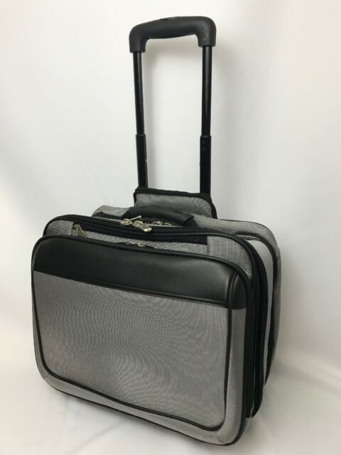 Wheeled Business Laptop Bag Briefcase Carry On Gray Black Rolling Overnight Case