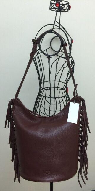 Nwt Ugg Lea Hobo Bucket Fringe Bag Rust Brown Leather Shoulder Handbag Purse