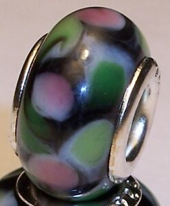 Black-Green-Pink-Murano-Glass-Bead-for-Silver-European-Style-Charm-Bracelets