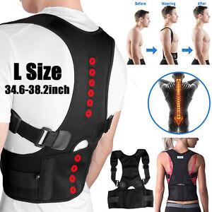 Posture-Corrector-Support-Magnetic-Lumbar-Back-Shoulder-Brace-Belt-Unisex-L-Size