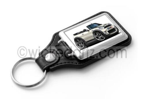 RetroArtz Cartoon Car BMW Mini Cooper S Convertible in White Classic Key Ring