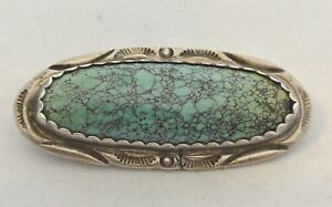 signed-Navajo-NUMBER-8-TURQUOISE-Oval-Pin-with-STAMPING-Sterling-Silver-BONUS