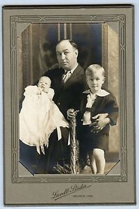 Antique-Photo-in-Folder-Waverly-Iowa-Father-Little-Boy-Holding-Young-Baby