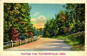 Vintage Postcard -  Greetings From Vaughsville Ohio Posted 1938 White Board #954