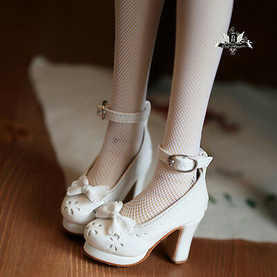 1/3 BJD shoes Dollfie Lolita Bow white High heels shoes MID SOOM DOD DZ Dollmore