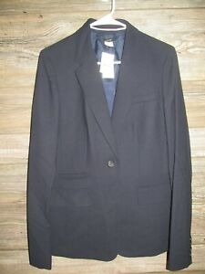 J Crew Womens One Button Blazer Size T10 Medium Navy Blue 100% Wool