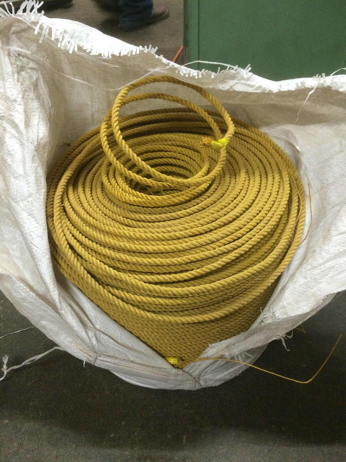 DEFECTIVE - 7.0mm (1 4 ) gold Rope, 3 Strand, 1300' Coil - Lariat Rope (Polyprop
