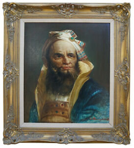 Oil-Painting-Signed-Framed-Portrait-Of-a-Royal-Emperor-Realistic