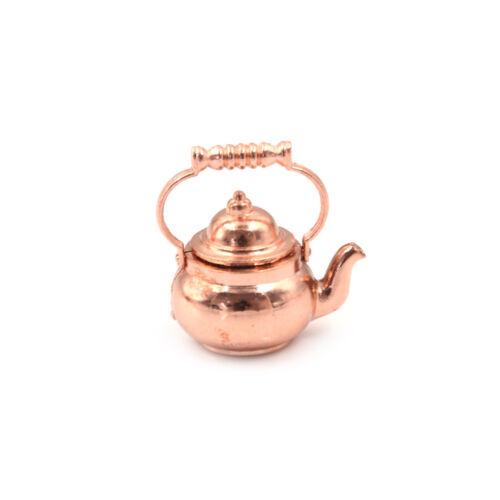 1PCS 1:12 Dollhouse Miniature Copper Tea Kettle Tea Pot Classic To HV