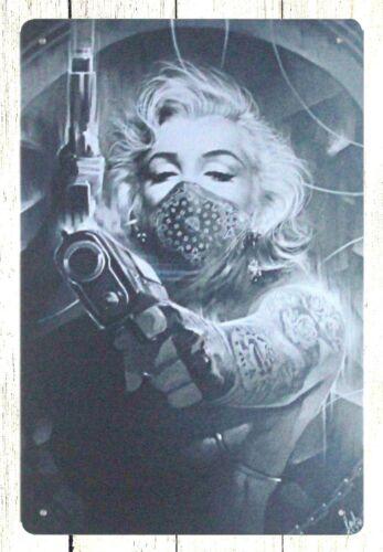 Marilyn Monroe Tattoos Gun tin metal sign interior design websites
