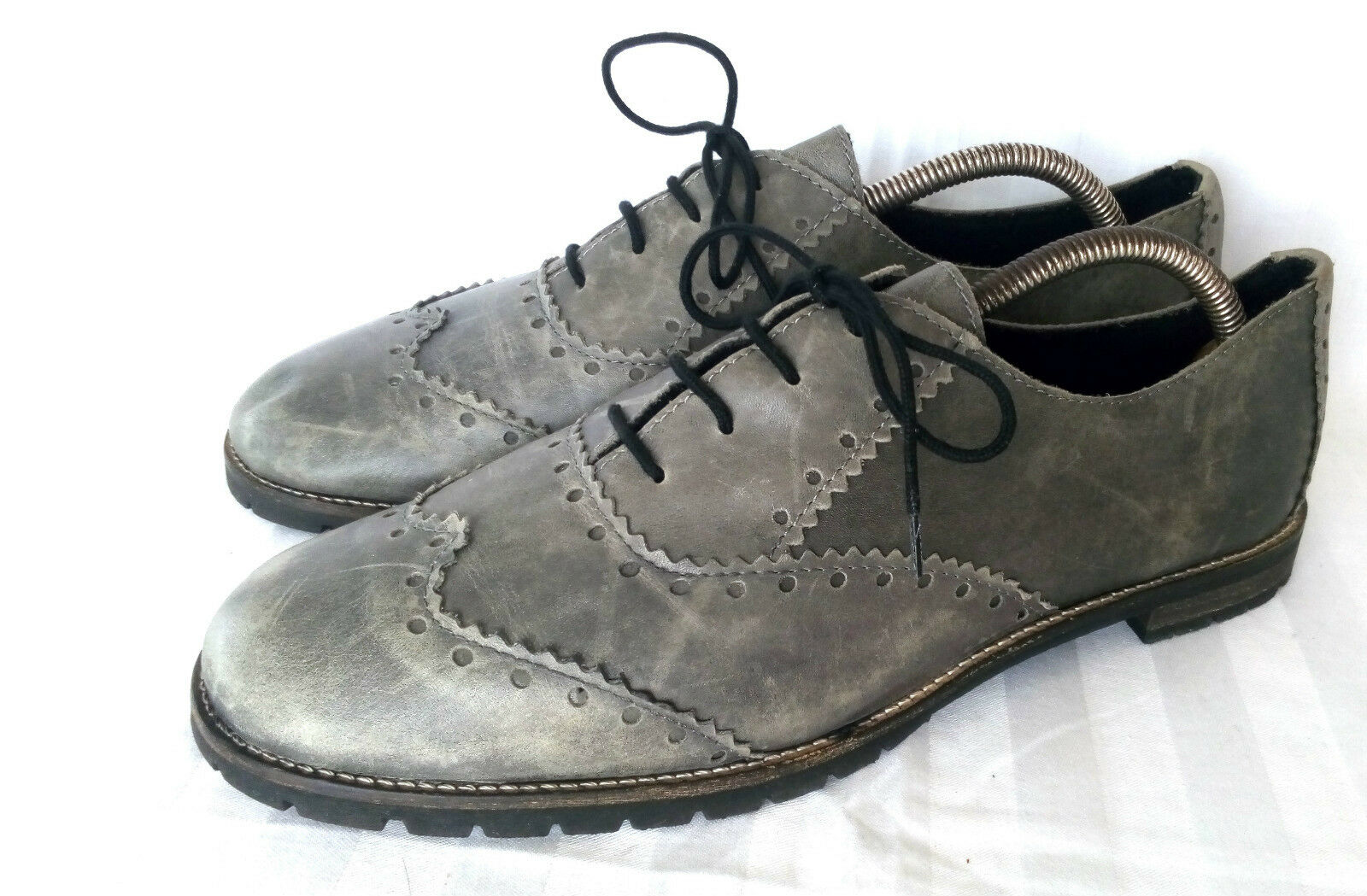 Alberto La Torre Elegante Oxford Jeans Herren Winterschuhe Warm Leder Grau 42