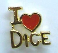 Gambling, I Love (heart) Dice Script Lapel Pin In Gold Plate, Made In Usa,