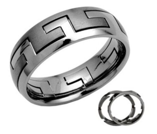 Z+1 New Mens Two Piece 7mm Titanium Jigsaw Puzzle Band Ring Gift Boxed Sizes P