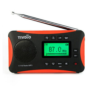 tivdio portable radio fm mw sw world receiver mp3 player sleep timer alarm clock ebay. Black Bedroom Furniture Sets. Home Design Ideas