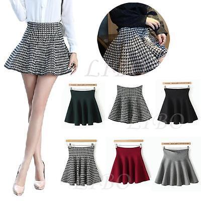 Womens knitted High Waist Short Plain Flared Skirt Pleated Skater Mini Dress