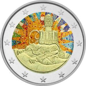 2-Euro-Gedenkmuenze-Spanien-2014-coloriert-mit-Farbe-Farbmuenze-Gaudi