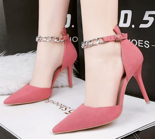 decolte Sandaleei stiletto 9 cm comodi eleganti rosa cinturino simil pelle CW713
