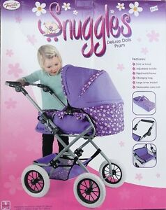 Dolls-Pram-Snuggles-Pretty-Lilac-Deluxe-Toy-Changing-bag-removable-carry-cot